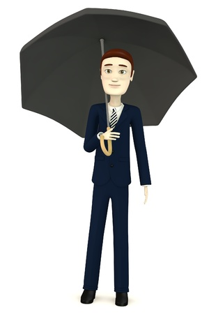 sexy umbrella: 3d render of cartoon character with umbrella Stock Photo