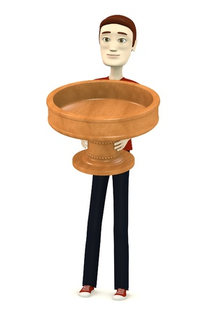 3d render of cartoon character with bowl photo