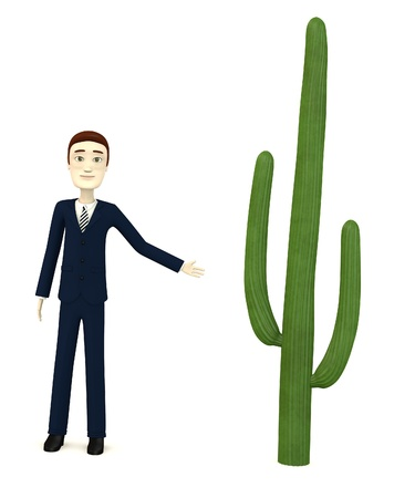 figourine: 3d render of cartoon character with cactus