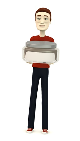 creme: 3d render of cartoon character with creme box Stock Photo