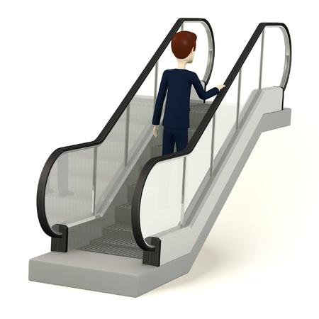3d render of cartoon character on escalator