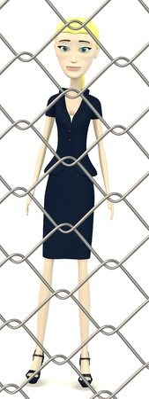 3d render of cartoon character behind fence Stock Photo - 19758281
