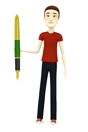 3d render of cartoon character with pen photo