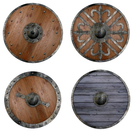 3d shield: collection of 3d renders - shields Stock Photo