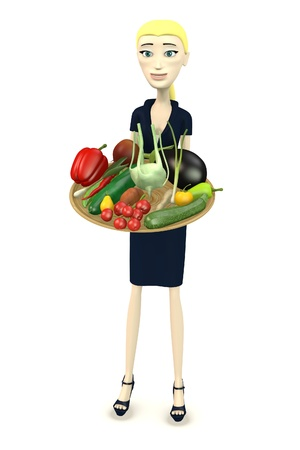 3d render of cartoon character with bowl of vegetable photo