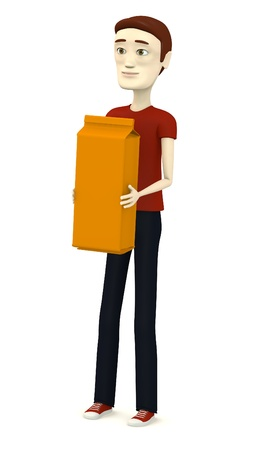 3d render of cartoon character with pasta box photo