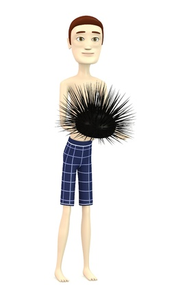 figourine: 3d render of cartoon character with sea urchin