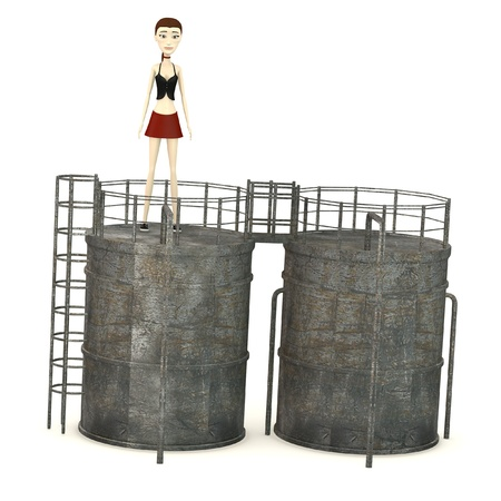 silo: 3d render of cartoon character with silo
