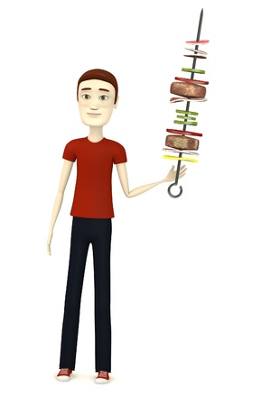 3d render of cartoon character with skewer photo