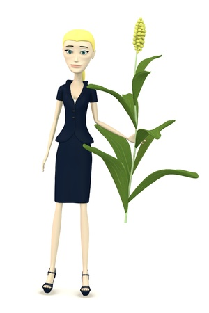 oat field: 3d render of cartoon character with sorghum Stock Photo