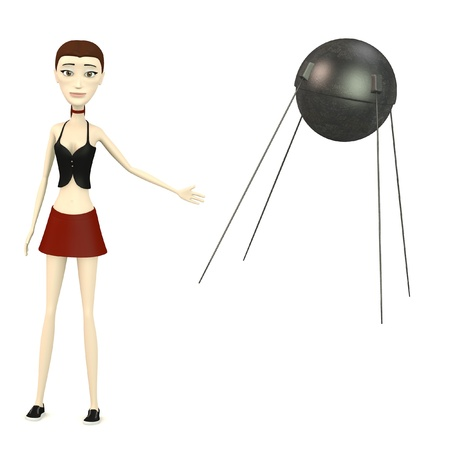 sputnik: 3d render of cartoon character with sputnik Stock Photo