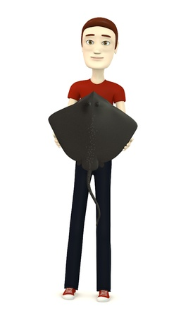 stingray: 3d render of cartoon character with stingray