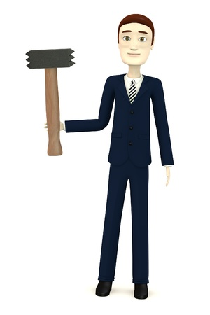 stonework: 3d render of cartoon character with hammer - for stonework