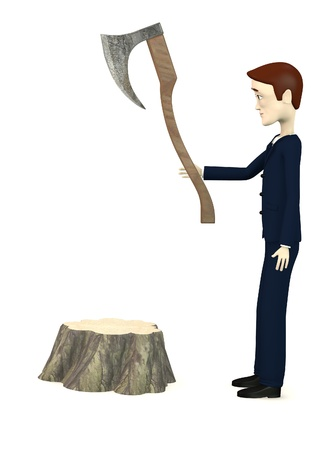 3d render of cartoon character with axe and stump photo