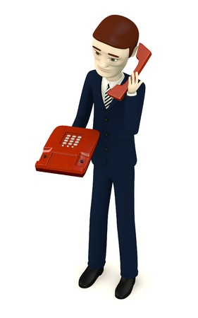 3d render of cartoon character with telephone photo