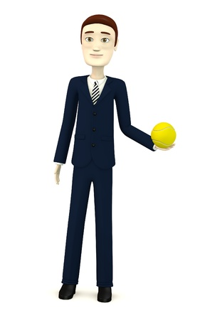 tenis: 3d render of cartoon character with tennis ball