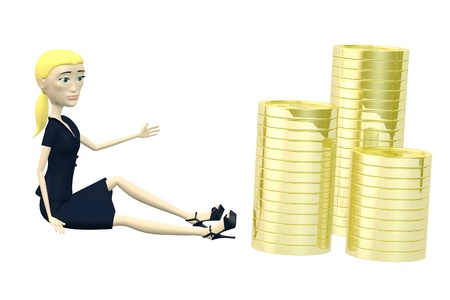 3d render of cartoon character with coins photo