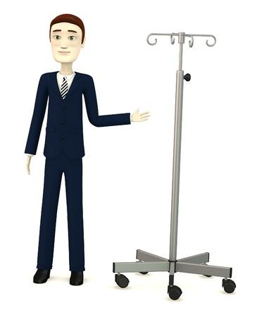 saline: 3d render of cartoon character with saline stand