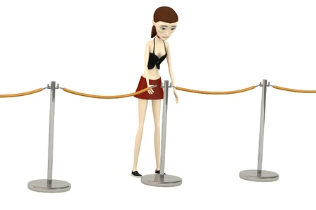 3d render of cartoon character with barriers Stock Photo - 19771583