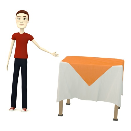 3d render of cartoon character with table photo