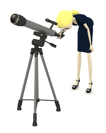 observatory: 3d render of cartoon character with telescope Stock Photo