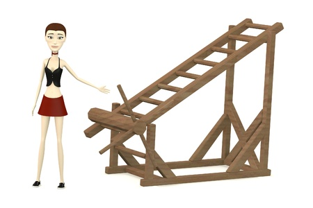 3d render of cartoon character with tortural ladder photo