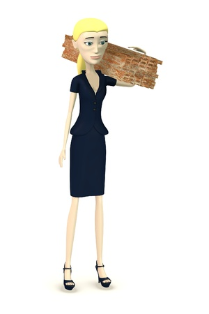 constrution site: 3d render of cartoon character with traverses Stock Photo