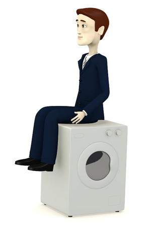 vibration machine: 3d render of cartoon character on wash machine