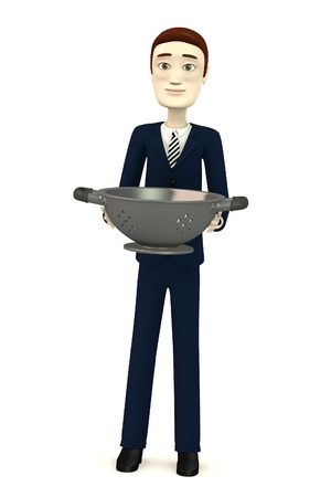 3d render of cartoon character with sieve