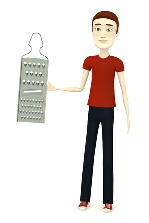 grater: 3d render of cartoon character with grater