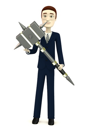 3d render of cartoon character with hammer Stock Photo