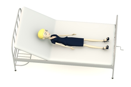 3d render of cartoon character on hospital bed photo
