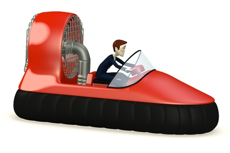 hovercraft: 3d render of cartoon character in hovercraft