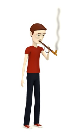 tabacco: 3d render of cartoon character smoking indian pipe