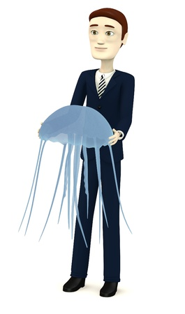 3d render of cartoon character with jellyfish photo