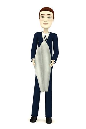pangasius: 3d render of cartoon character with pangasius Stock Photo