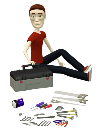 3d render of cartoon character with tools photo