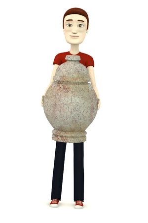 cremation: 3d render of cartoon character with urn