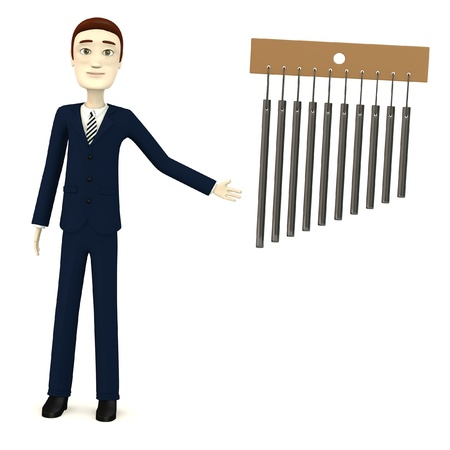 chimes: 3d render of cartooon character with wind chimes