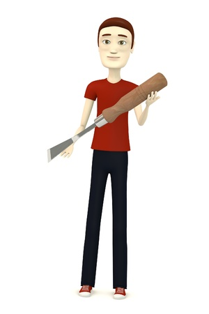 carpentry cartoon: 3d render of cartooon character with chisel Stock Photo