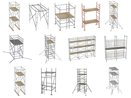 renders: collection of 3d renders - scaffolding Stock Photo