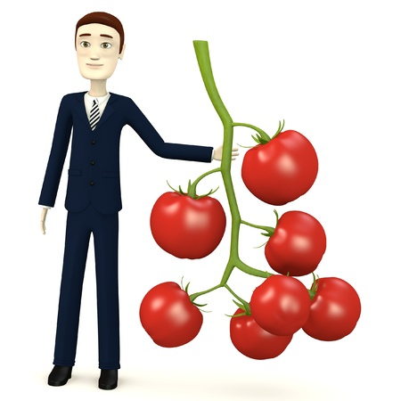 cherry tomato: 3d render of cartoon character with cherry tomato