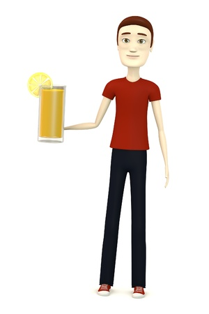 3d render of cartoon character with juice photo