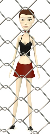 3d render of cartoon character behind fence photo