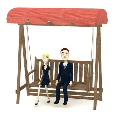 3d render of cartoon characters on swing photo