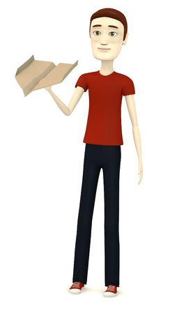 3d render of cartoon character with paper plane photo