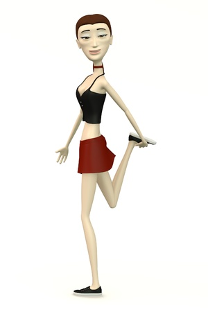 miniskirt: female character in casual clothes stretching leg