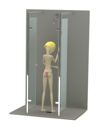 3d render of cartoon character in shower photo