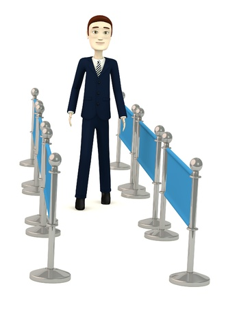 3d render of cartoon character with barriers photo