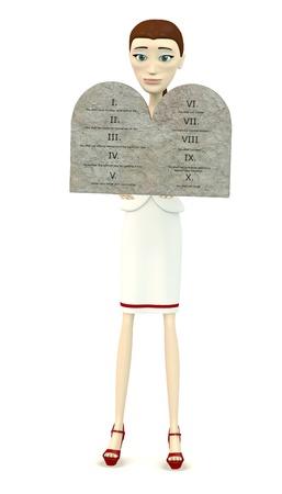 commandments: 3d render of cartoon character with ten commandments Stock Photo